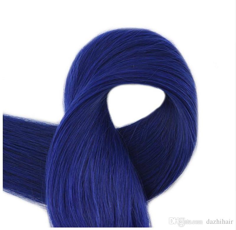Color #Blue 2.5g/pc /Package Skin Weft Tape in Remy Human Hair Extensions Fashion Glue on Hair Tape Ins