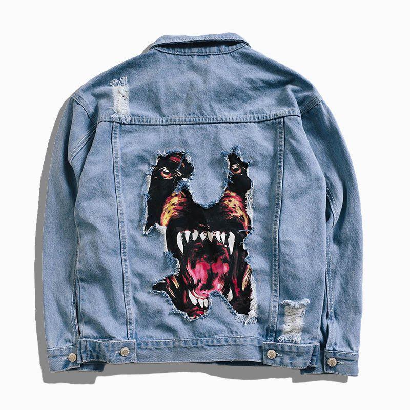 45732b3fdbbad Compre Chaqueta De Mezclilla De Los Hombres De La Moda De Otoño E Invierno  Malo Perro Rottweiler Parche Chaqueta De Hip Hop Hombre Chaqueta De  Mezclilla A ...