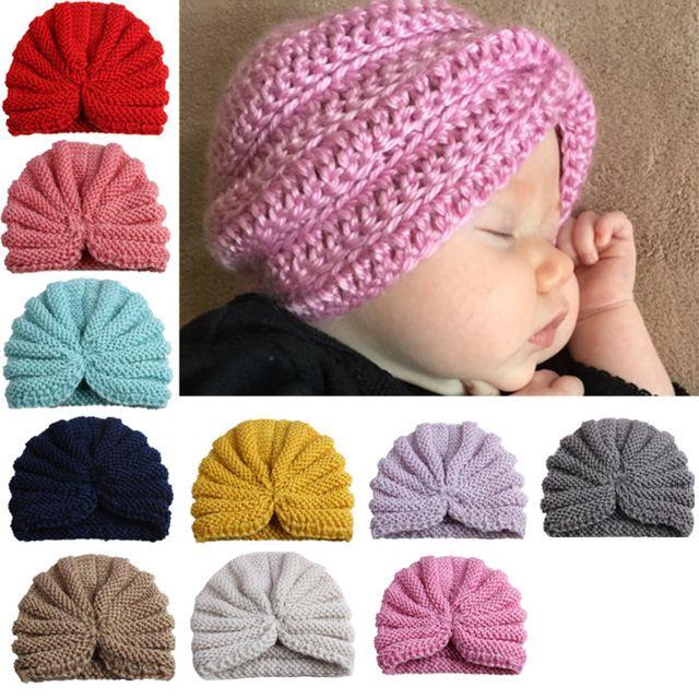 05ada8bf0 Cute Baby Kids Knitted Beanie Caps Pink Boys Girls Handmade Crocheted Hats  Winter Turban Headwear