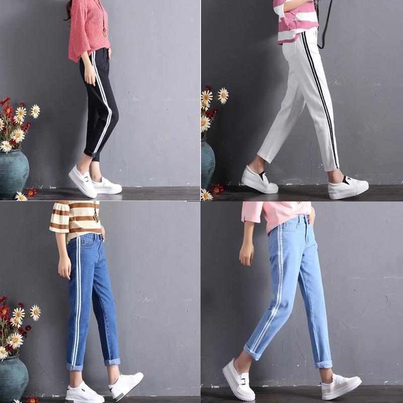 f806cd0969063 2019 Women Black Mom Jeans Denim High Waisted Side Stripe Jeans Personality  Wide Leg Crop Denim Retro Pants Strip Loose Straight Jean From Stripe