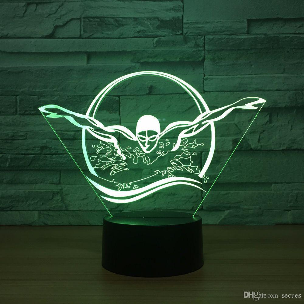 Swimming 3D Optical Illusion Lamp Night Light DC 5V USB Powered 5th Battery Wholesale Dropshipping Free Shippin