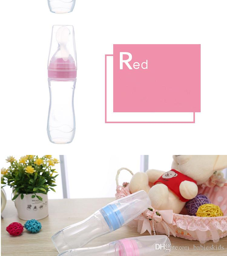 Baby Squeezing Feeding Spoon Newborn Toddler Silica Gel Bottle Rice Cereal Food Supplement Feeder Safe Tableware Medicine Extrusion Tools
