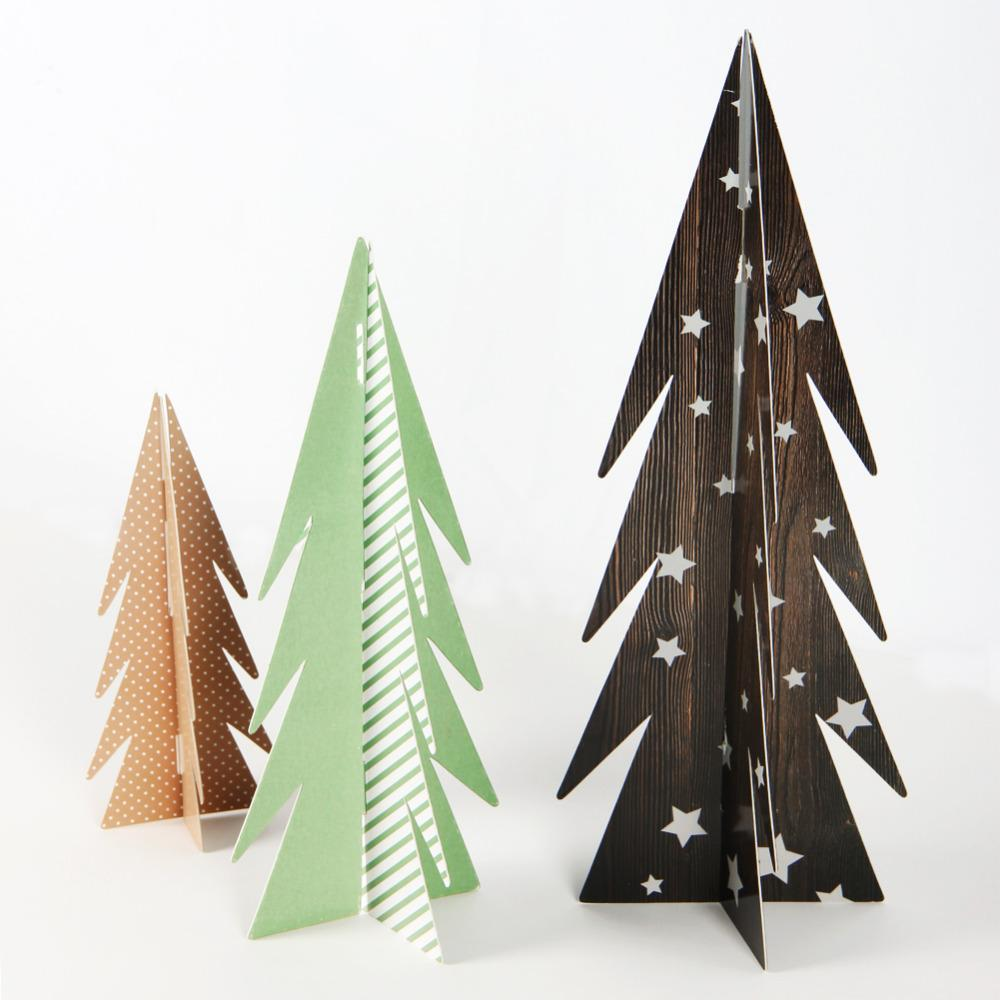 Pack Of 3 Christmas Paper Trees Table Centerpiece Christmas Table