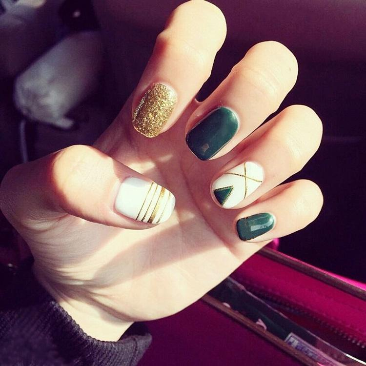 Free Glue Pre Design Short Fake Nails French False Nails Green/White ...