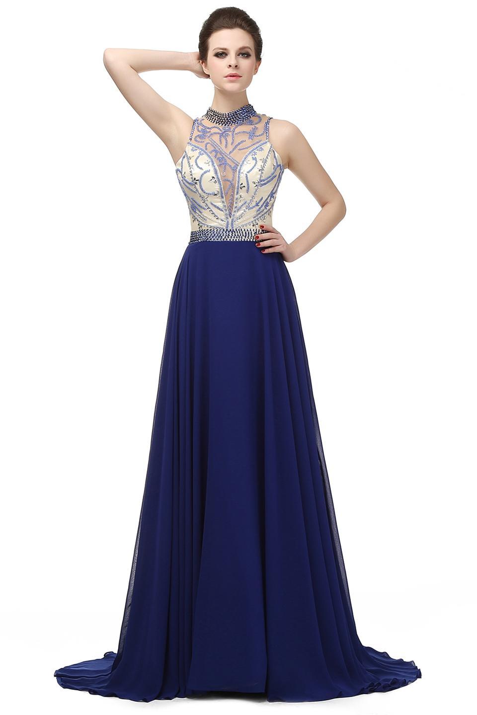 2cbc32065 Compre Duro Abalorios Azul Marino Con Tren Vestido De Noche Largo Diamante  Cristalino De Tul Vestido De Noche Formal 2018 LG02729 A  470.36 Del  Kisswedding ...