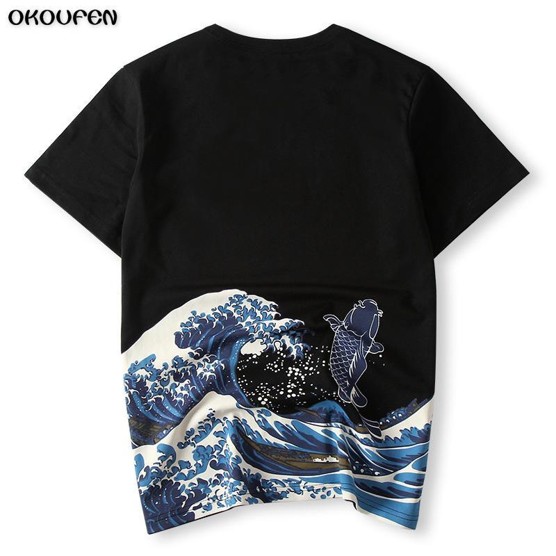 new style c0dd1 b5501 Japanischen Ukiyoe Stil Männer T-shirt Druck Welle Karpfen Fisch Hohe  Qualität Sommer T-shirt Tops Tees Mode Größe 4XL Freies ShippingTXS38