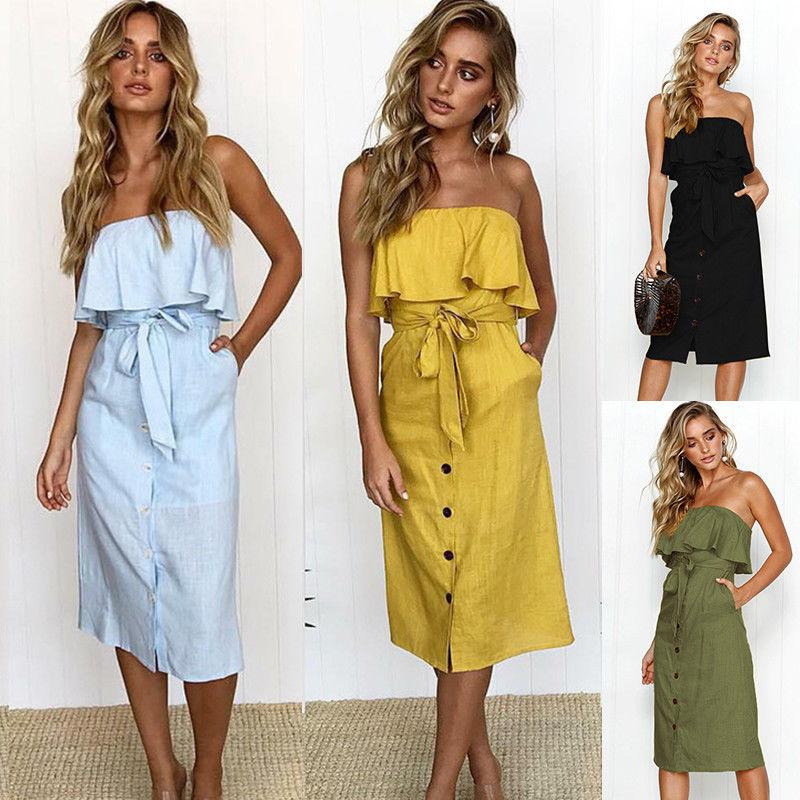 cbf4064792323 Womens Off Shoulder Bardot Midi Dress Ladies Summer Ruffle Belted Frill  Dress Sleeveless Pocket Sundress UK Size 6 16 Cocktail Dresses Style Green  Dress ...