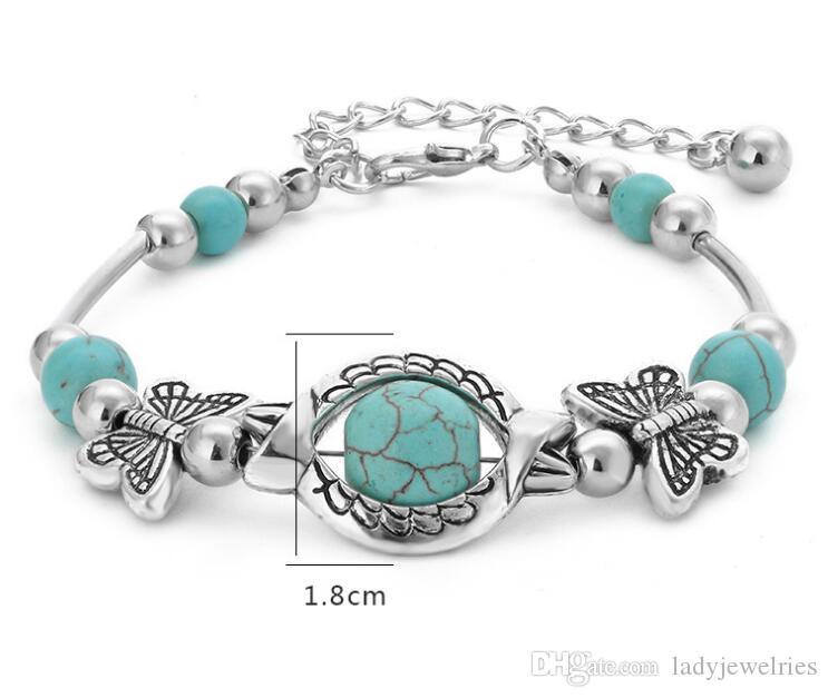 Jahrgang nationalen Stil Böhmen Schmetterling Perlen Türkis Armbänder Stränge Armbänder klassische Schmuck DIY Mode Perlen Armbänder Kinder Geschenk