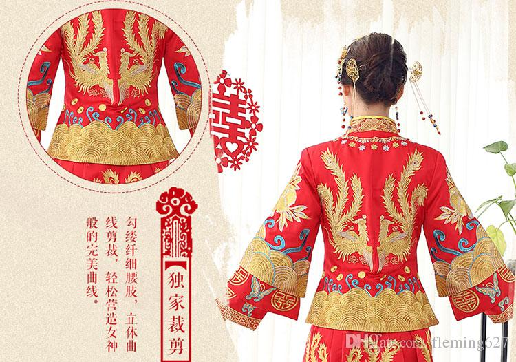 Chinese Traditional style Show clothing autumn winter red formal top gown the wedding evening dress costume Dragon bride gown