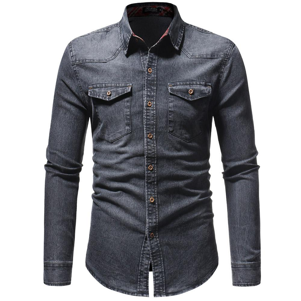 c77ab0bcc1f 2018 Men Shirt Classic Casual Demin Shirt Long Sleeve Brand-Clothing ...