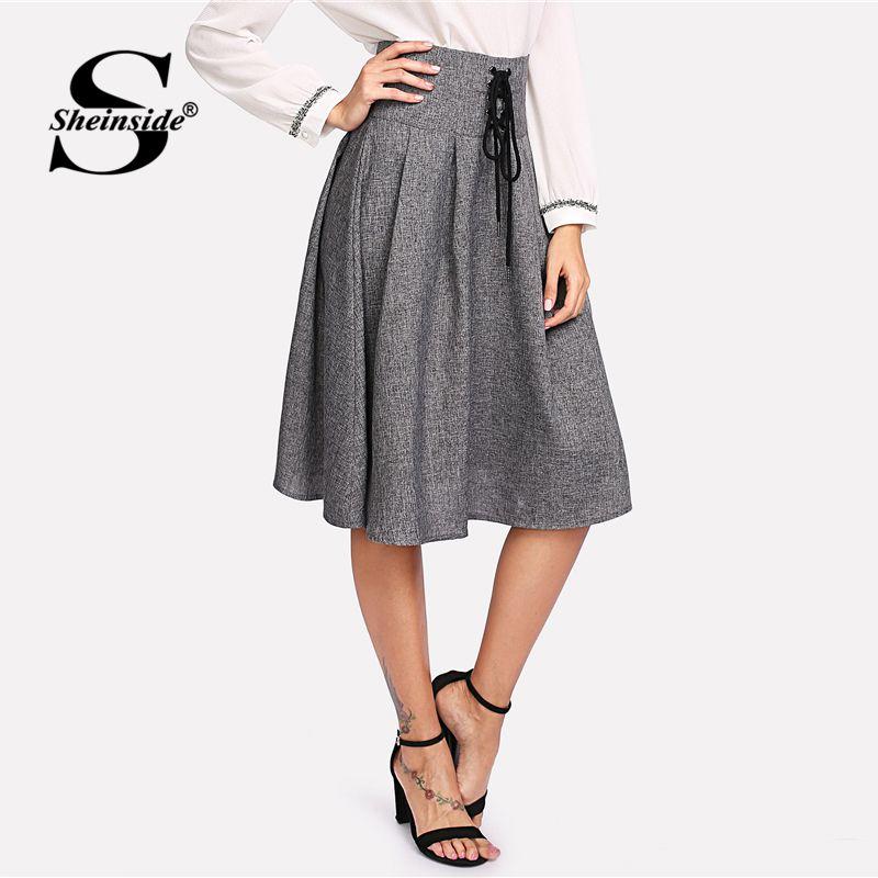 edf0b4a3a7 2019 Sheinside Grey High Waist Elegant Skirt Office Ladies Workwear Pleated  Lace Up Zipper A Line Women Autumn Midi Skirt From Cailey, $26.21 |  DHgate.Com