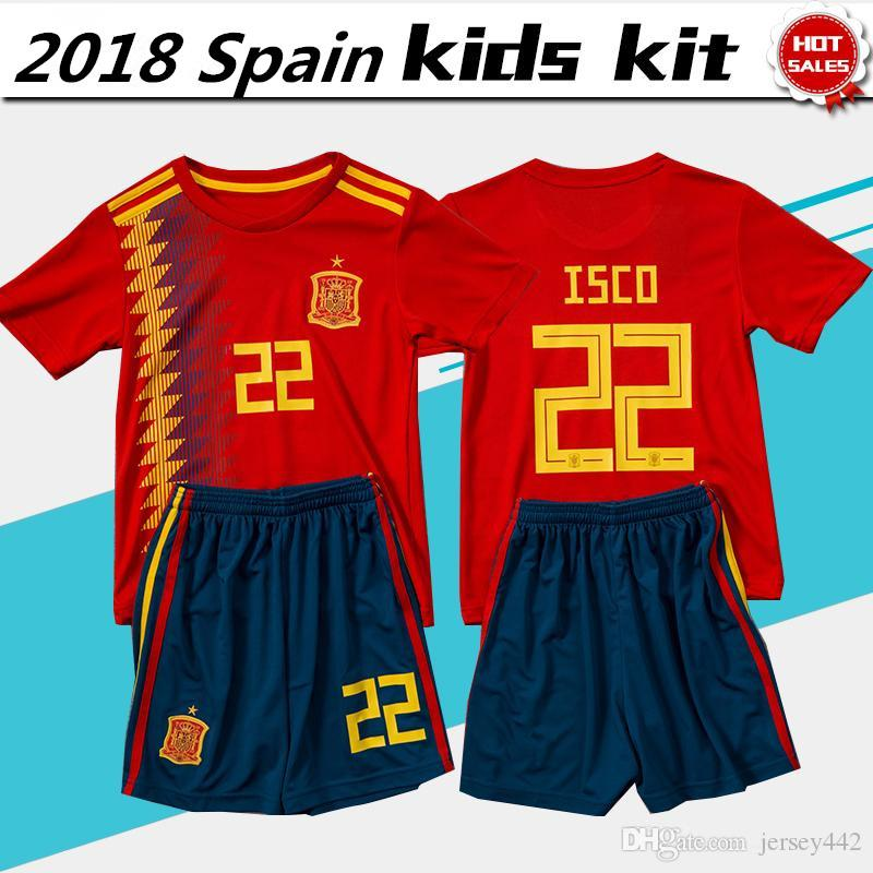 3b3585fec 2018 World Cup Spain Soccer Jersey Kids Kits España Niño Home Red ...