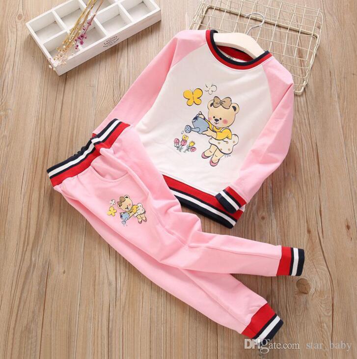 1ad8a9376fded Kids Girls Tracksuit 3-9Y Infant Girl Cartoon Bear Sweatshirt Pants 2pcs  Sets Sport Suit 2018 New Autumn Children Clothing wt1735