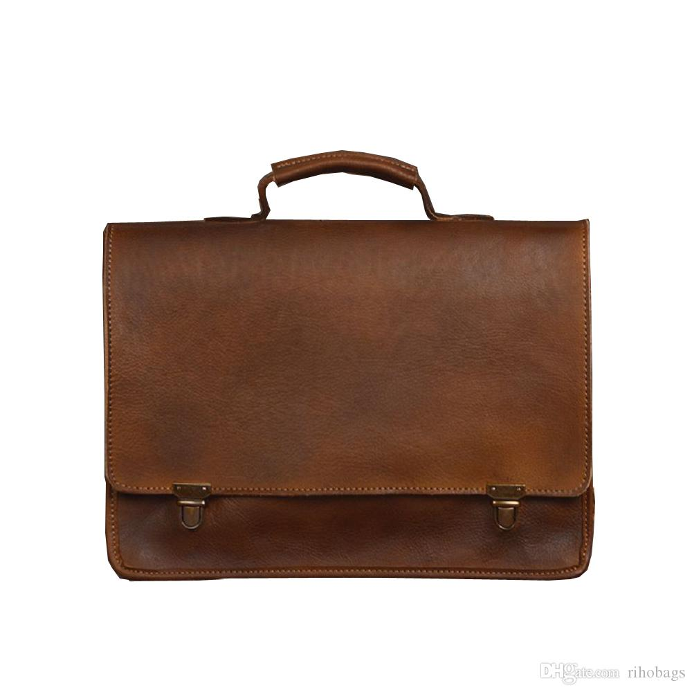 Handmade Men Classic Genuine Cow Leather Briefcase Shoulder Bag Shoulder Bag  Leather Bag Online with  146.7 Piece on Rihobags s Store  87e0e049a63b6