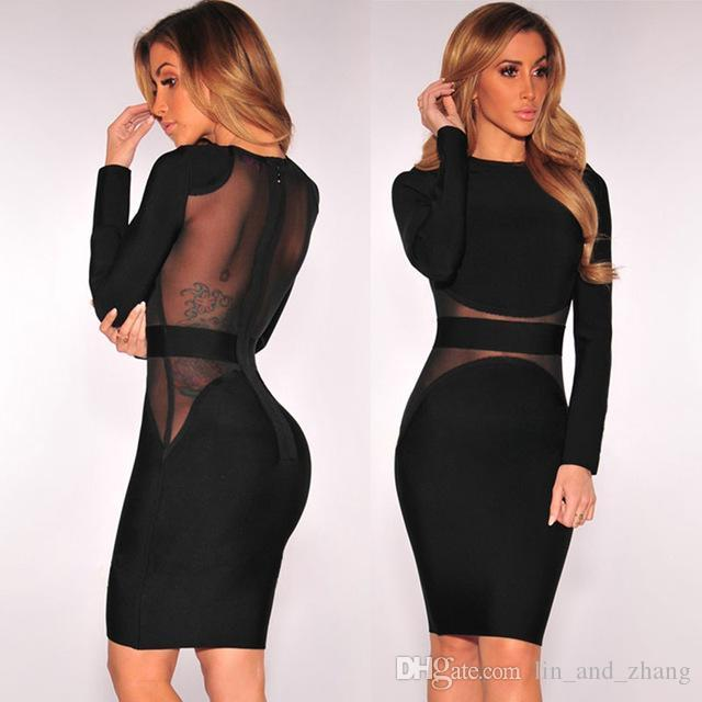 f24ab00de8a XS XXL Sexy Bandage Dress New Winter Black White Dress Long Sleeve Mesh  Patchwork Hollow Out Pencil Bodycon Dress Female Dresses Dress Maxi Dresses  From ...