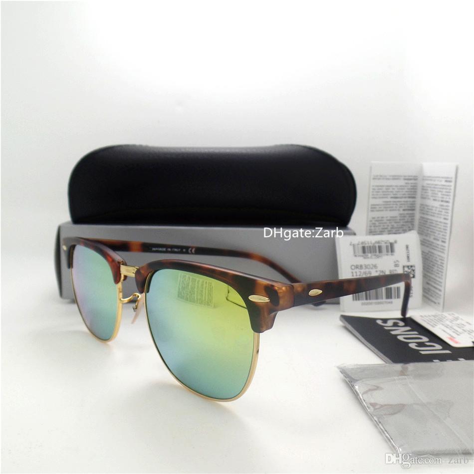 Lente de vidrio de alta calidad Hombre de lujo Mujer Mujer Gafas de sol UV400 Plank Frame Bisagra Círculo 51MM clásico Unisex Trend Vintage Eyeglass con estuche