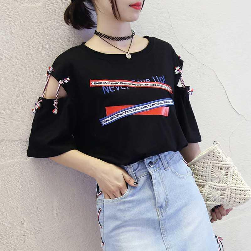 378e88e63ce 2018 Summer New Pattern Korean Bandage Short Sleeve T Pity Woman ...