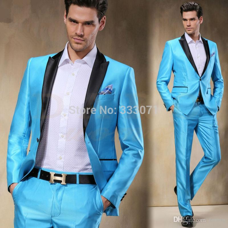 Best Wholesale 2016 New Arrival Sky Blue Satin Groom Tuxedos Slim ...