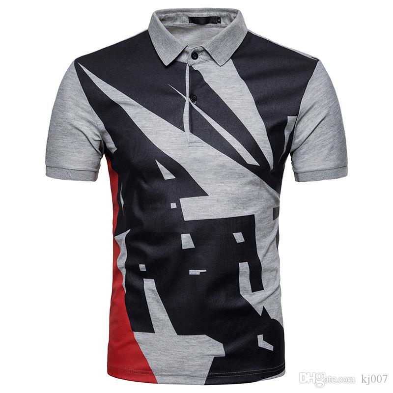 Бесплатная доставка новый футболка высокое качество хлопок летние рубашки Мужские продажа мода геометрические печатных футболки спортивные футболки контраст Поло
