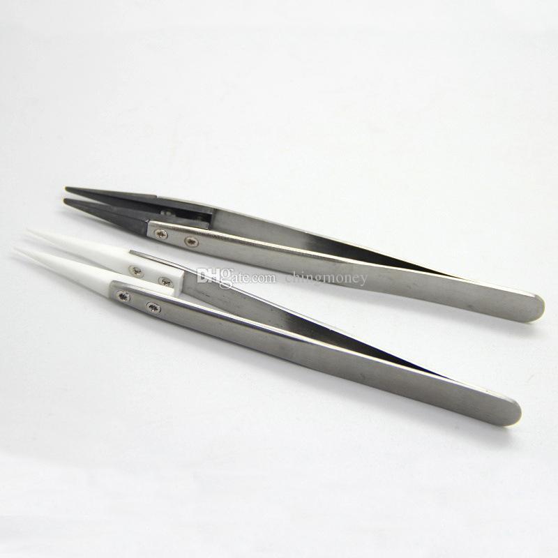 Best quality Ceramic Tweezers Non-Conductive Heat Resistant Tweezers Stainless Steel Ceramic Tweezers E Cigarette Tools DHL free