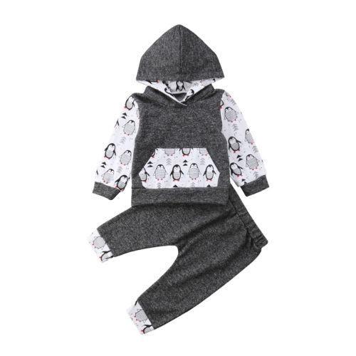Babies Hooded Clothes Baby Cool Penguin Clothing Set Boy Girl Outfits Long Sleeve Hoodies Sets Newborn Kids
