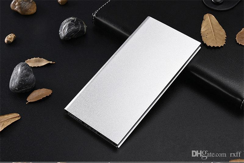 Metal Slim Power Bank 20000mah Portable Mobile Battery Backup Charger 2 USB Ports Emergency Charger For Iphone 7 Samsung HTC Xiaomi Huawei