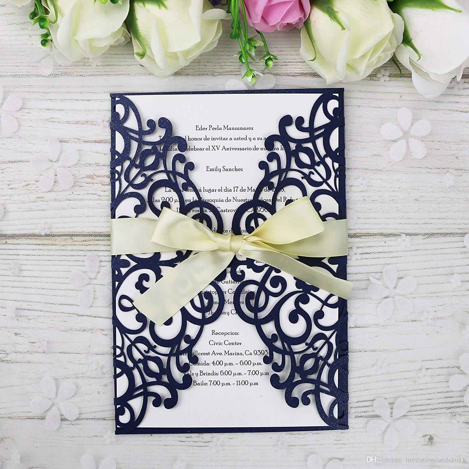 2018 New 5 7 Navy Blue Invitations Cards With Ribbon For Wedding
