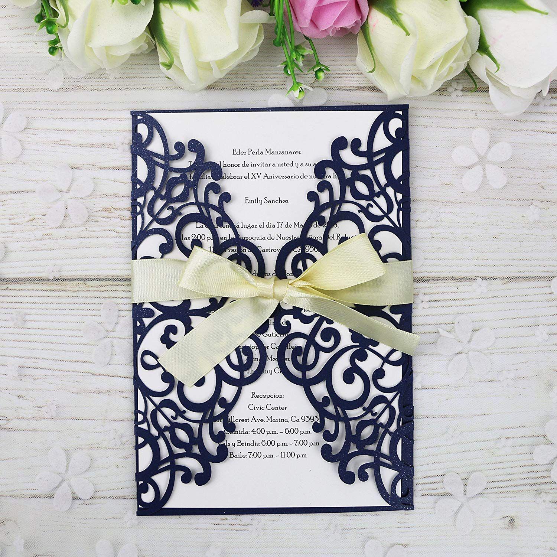d3a154656 Compre 2019 Nuevo Envío Gratis 5   7 Azul Marino Invitaciones Tarjetas Con  Cinta Para La Boda Nupcial Ducha Compromiso Cumpleaños Graduación Fiesta  Invitar ...