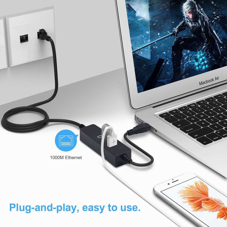 USB C HUB USB-C Ethernet Adapter Type C to RJ45 Gigabit Ethernet 3 Port USB 3.0 10/100/1000 Mbps Network Card for Macbook Air