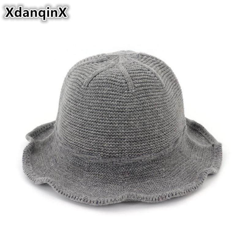 XdanqinX Foldable Women's Cap Autumn Winter New Bucket Hat Elegant Simple Wool Knit Hat For Ladies High Quality Brand Female Cap