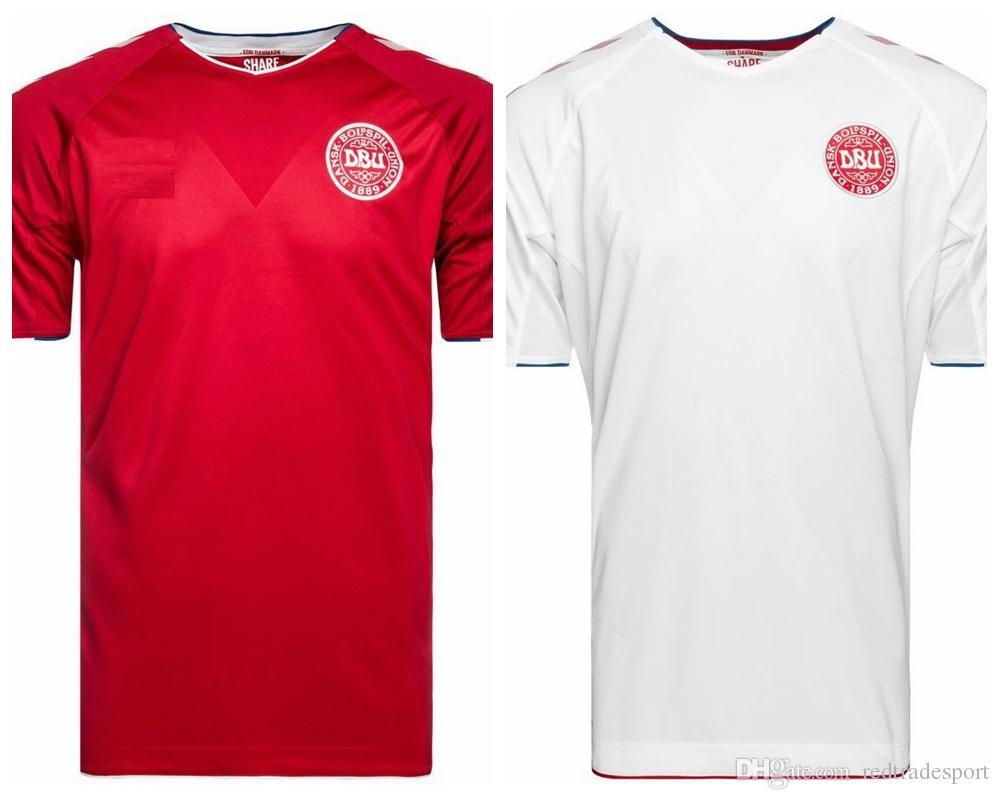 quality design 63f86 7d6cf New Denmark World Cup Jersey 2018 WC Kits Soccer Jerseys 10 Eriksen 5  Knudsen 1 Schmeichel 4 Kjaer Football Shirts