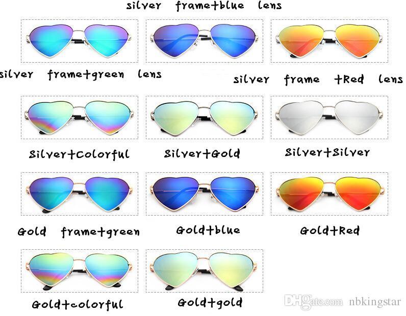 Moda Kalp Şekilli Güneş Gözlüğü Marka Tasarımcı Kadınlar Metal Yansıtıcı Lens Moda Güneş Gözlükleri Erkekler ve Kadınlar Için Ayna Yeni Parti ...