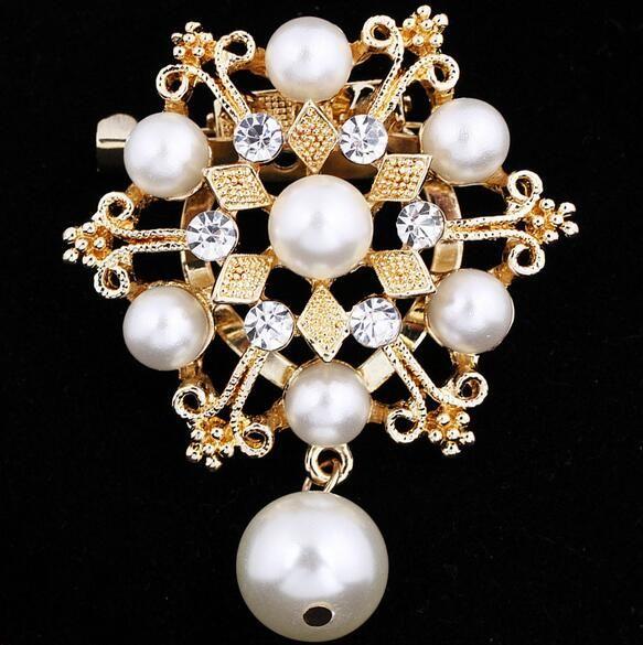 Elegant Women Hollow Crystal Pearl Flower Dancing Girl Brooch Pin Jewelry Gift