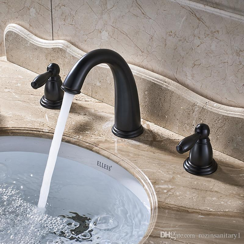 Oil Rubbed Bronze Bathroom Widespread Black Waterfall Basin Sink Faucet Dual Handle Hot Cold Water Mixer Tap