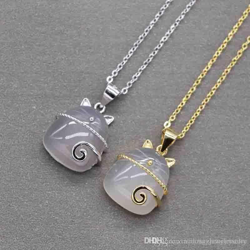 d38e11ae8 Wholesale S925 Pure Silver Brand Name Nature Pink Jade For Kitty Shape Love Pendant  Necklace Fashion Class Women Girls Lady Jewelry PS6026 Cute Pendant ...