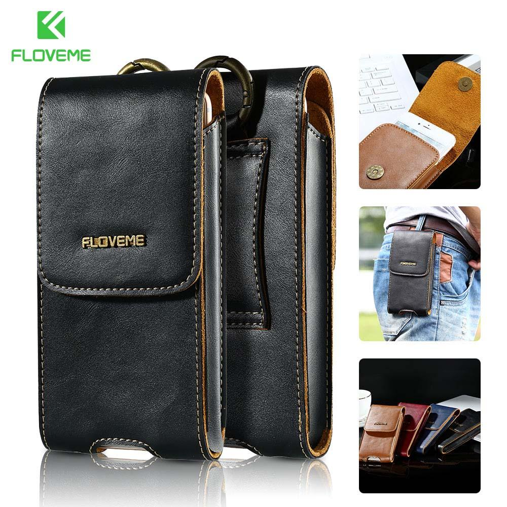 "Floveme 5 .5 ""Universal Leather Case For Iphone 8 7 6s 6 Plus Full Protect Belt Clip Holster Wallet Cases For Iphone X 5s 5 Capa"