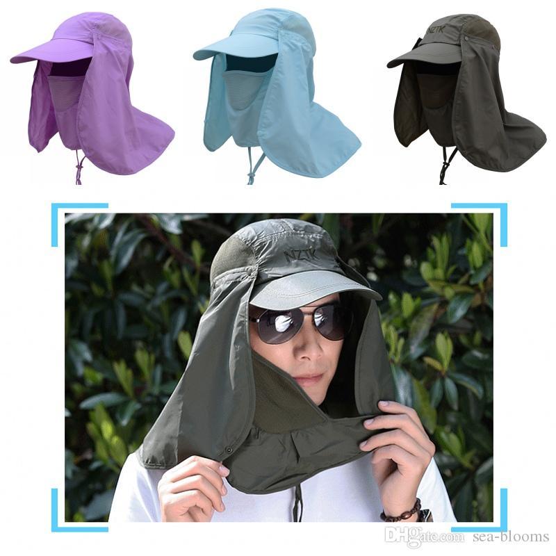 낚시 모자 360 ° UV 차단 태양 모자 커버 얼굴 여름 야외 모자 바이어 모자 접이식 탈착식 목 얼굴 마스크 무료 DHL G801R