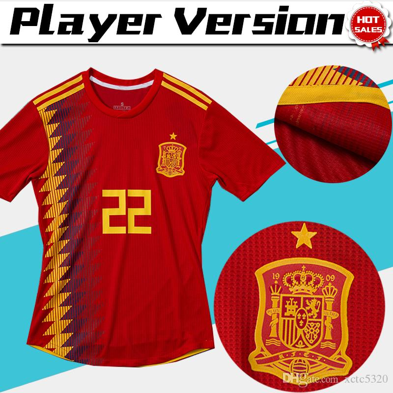 Player Version 2018 World Cup Spain Home Red Soccer Jersey Spain Soccer  Shirt  7 MORATA  22 ISCO  20 ASENSIO  15 RAMOS Football Uniforms UK 2019  From ... 857132829
