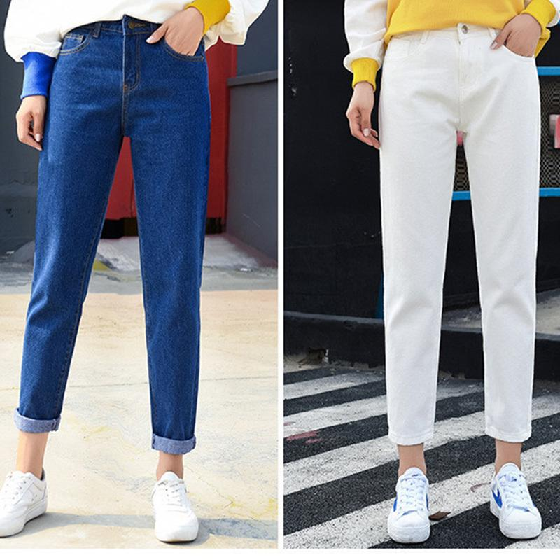 83e359be52 Compre 2018 Otoño Mujer Señoras Pantalones Vaqueros Cintura Alta Mamá Mujer  Novio Denim Jeans Pantalones Lápiz Pantalones Mujer Más Tamaño Femme  Pantalon A ...