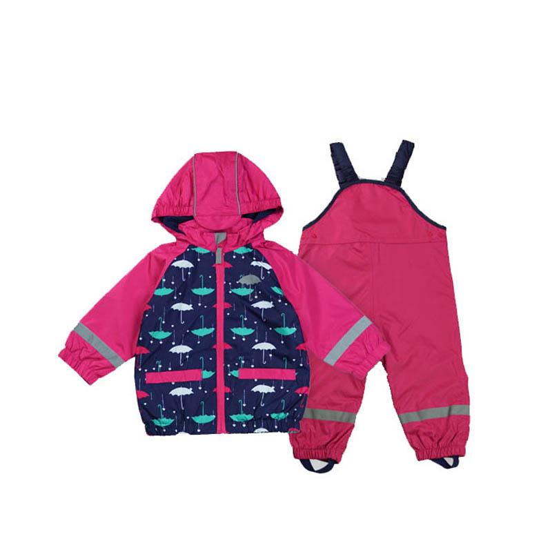 dfd3b8326e19 2019 Kids Waterproof Windproof Girls Jacket Suit+Overalls Child ...