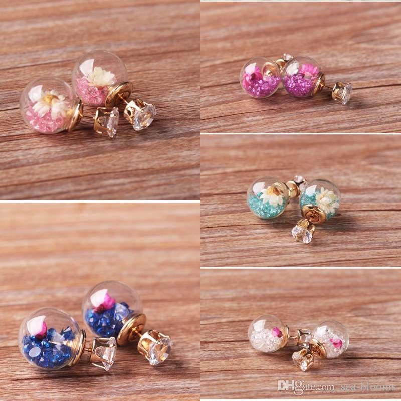 deb6c18003f 2019 Ladies Double Side Glass Ball Stud Earring Fashion Trends Party  Jewelry Filled Beautiful Flower Earrings For Women D896S From Sea Blooms