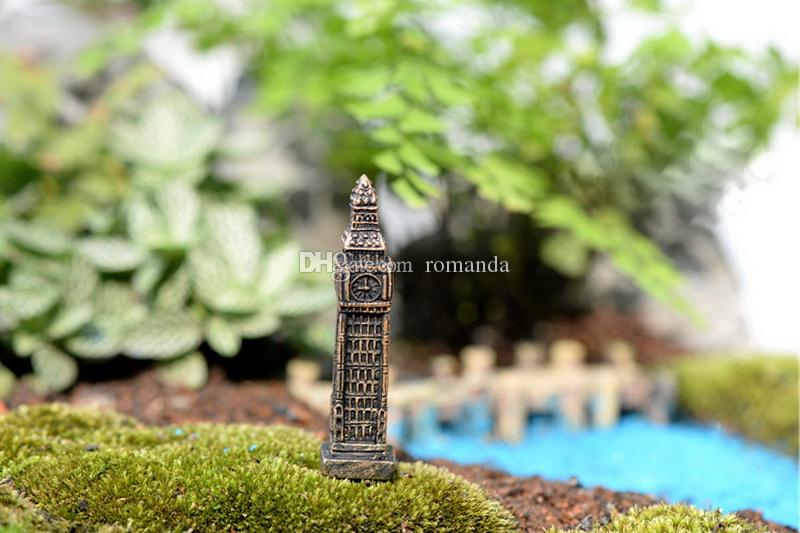 6cm Big Ben Miniature Ecological Micro Landscape Decoration Resin Craft Moss Bonsai Terrarium Decor DHL