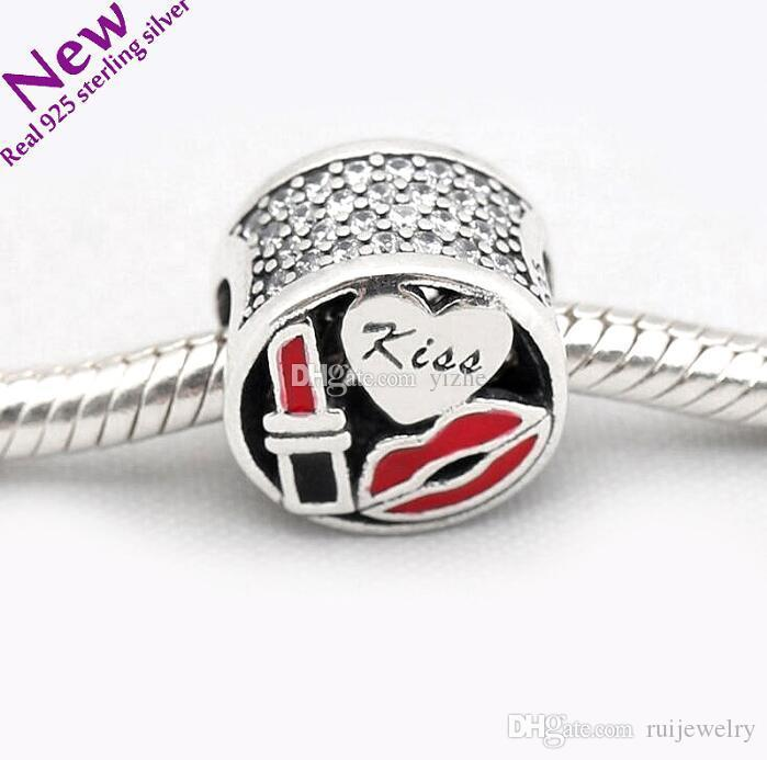 ee89ed91f Real 925 Sterling Silver Lipstick Charm Dangle Fit Pandora Original ...