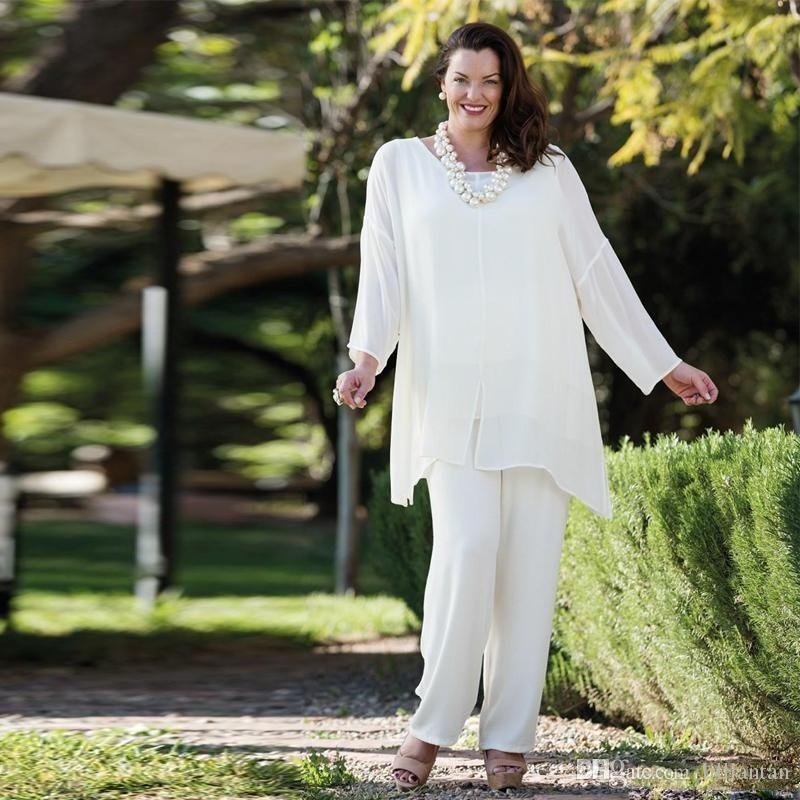 White Chiffon Women Evening Pant Suits Plus Size Mother Of The ...