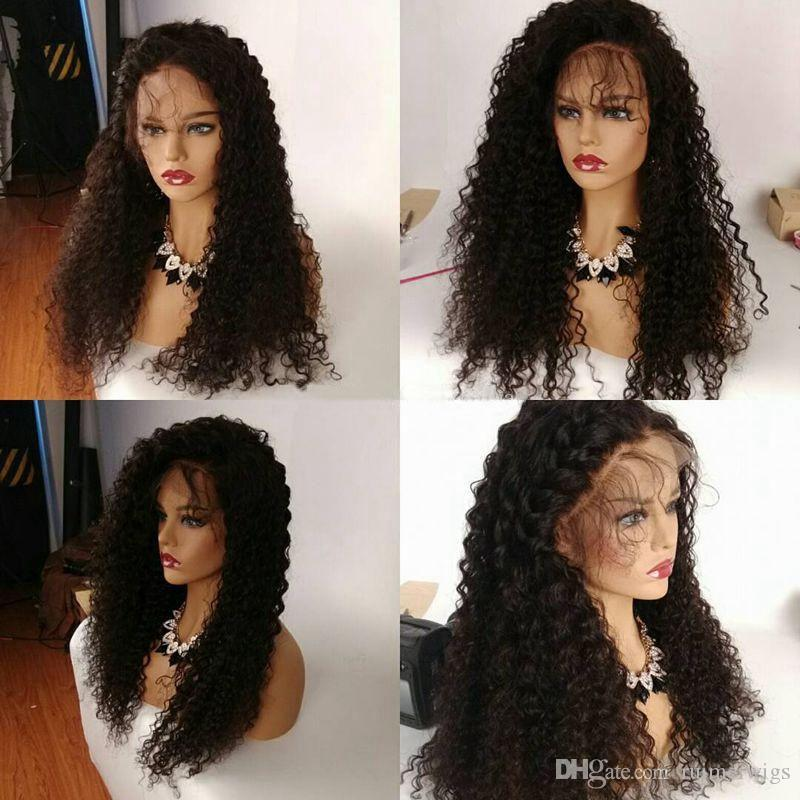 Human Hair Full Lace Wig Natural Color Kinky Curly Long Wig 130% Density Brazilian Glueless Lace Front Human Hair Wigs for Black Women