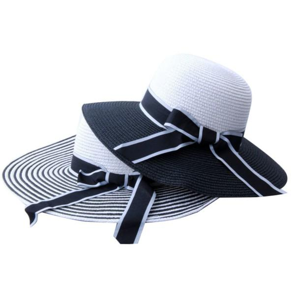 8e8ac62382b2c3 Hot Sale Fashion Black White Striped Straw Hat Hepburn Wind Bowknot ...