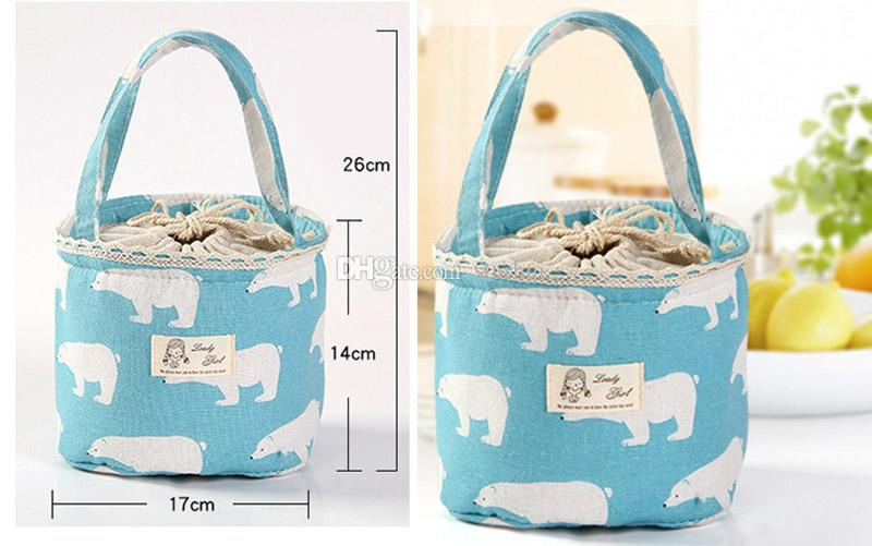 New Portable Bear Flamingo Insulated Drawing String Lunch Bag Cartoon Animal Picnic Pouch Bag Thermal Food Lunch Box Bag WX9-413