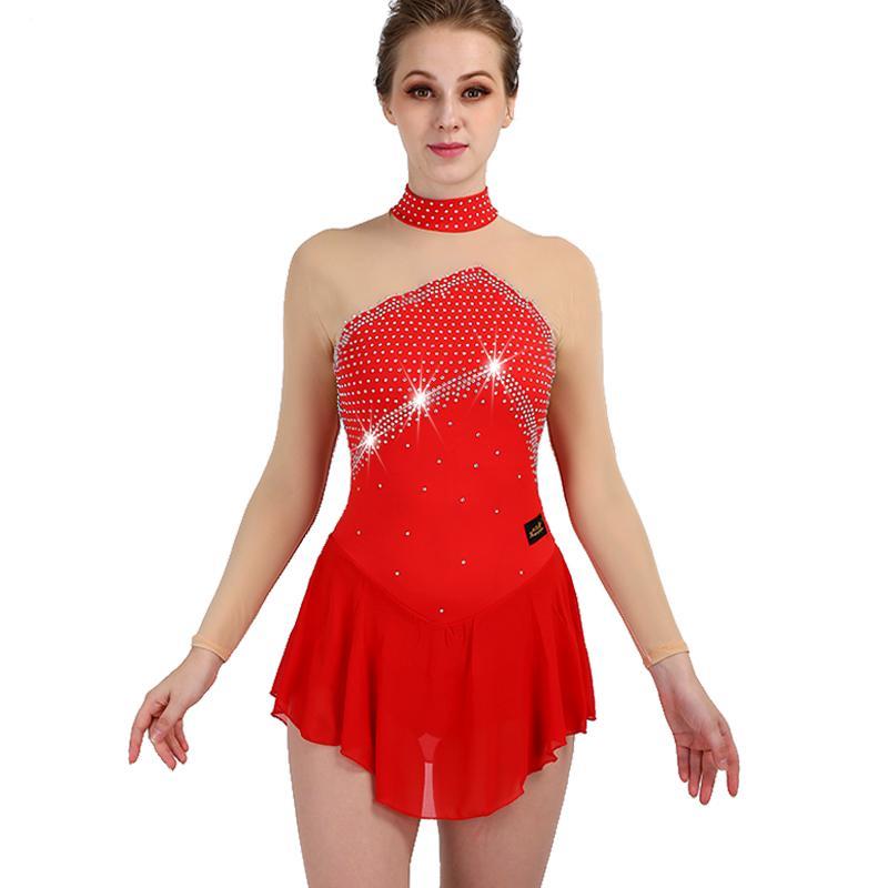 3e05a66b9f Compre Vestido De Patinação Artística Vermelho Elasticidade De Cristal  Personalizada Patinação No Gelo Roupas Meninas Mulheres Desgaste Competição  Vestido ...