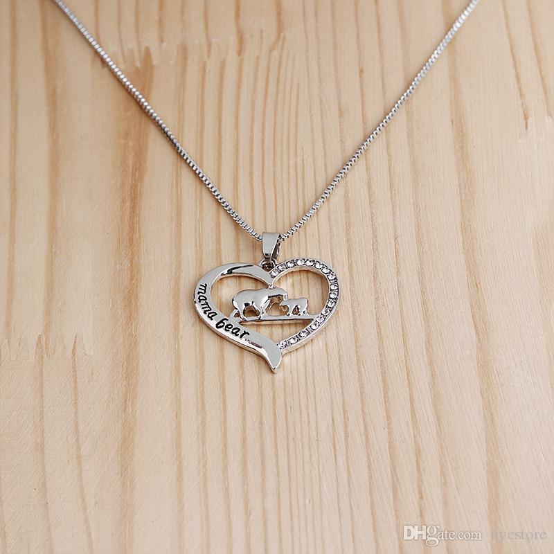 Heart-shaped engraved necklace mama bear alloy animal necklace for mother's day