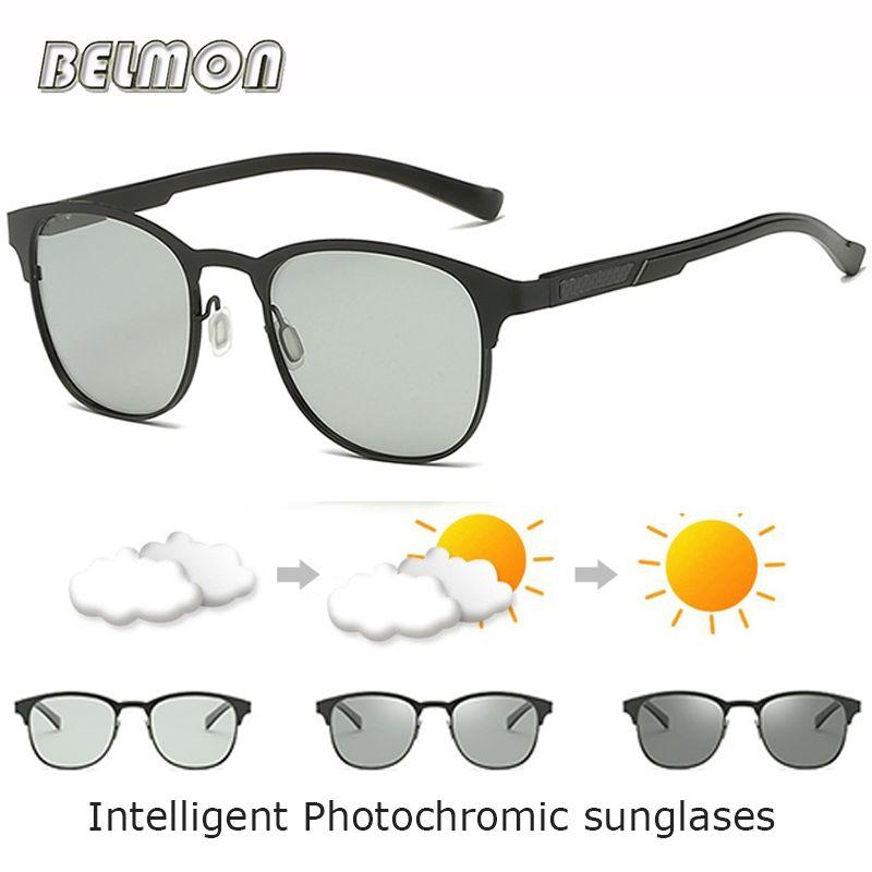 e0a61361f1 Compre BELMON Gafas De Sol Polarizadas Para Hombres Lentes De Sol  Fotocromáticos Inteligentes Para Gafas De Conducción Masculinas UV400 AL MG  Oculos RS725 A ...